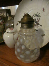ANTIQUE WHITE OPALESCENT COIN DOT THUMBPRINT SYRUP PITCHER