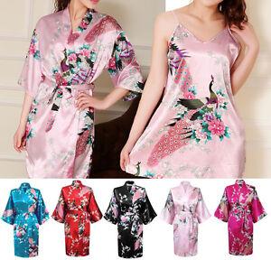 Nighty / Kimono New Robe Chinese Janpanes Women Silky Bath Gown Peacock Dressing
