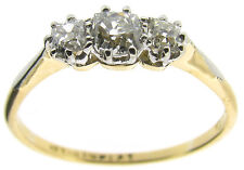 Ladies three-stone diamond rings P cushion 0.55ct SI1 not enhanced I very good