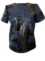And Other Stories Black Blue Sequin Top Snakeskin Animal Print Zip Back Size 10
