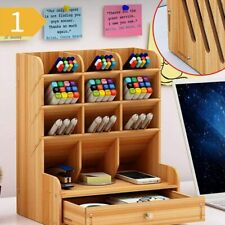 Wood Office Desk Organizer Desktop Pen Pencil Storage Box Phone Holder Drawer