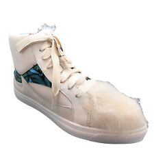 Coach 8.5 Shoes Womens White High Top Sneaker Pointy Toe Lace Up Leather & Fur