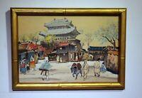gouache painting rural village samurai castle signed framed c1940s