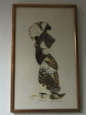 Joshua Balaka Signed BUTTERFLY WING Collage African Woman w/ metal Frame