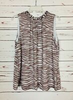 Loft Women's L Large Gray White Sleeveless Spring Summer Cute Top Blouse Tank