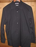 Claiborne Men's Dress shirt Wrinkle Free Modern Fit Solid Black M 15 1/2 32 33