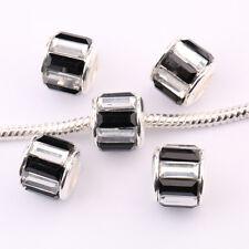 5/20Pcs Copper Rhinestone Colorful Big Hole Beads Fit European Charm Bracelet