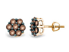 Wow! 10K Yellow Gold Chocolate Brown Diamond Round Flower Cluster Earrings 1.0ct