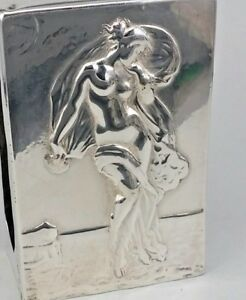Re  1897 Victorian Art noveau naked nymph design on large silver matchbox cover