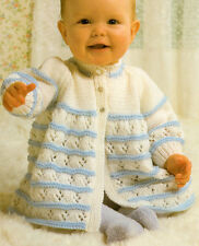 """Pretty Baby Vintage 2 Colour Matinee Coat  16"""" - 20"""" DK Knitting Pattern"""