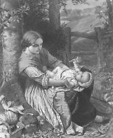 YOUNG GIRL MOTHER & BABY REST in Forest WOODS ~ Antique 1863 Art Print Engraving