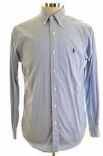 Ralph Lauren Mens Shirt Small Blue Stripes Cotton Classic Fit
