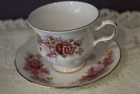 QUEEN ANNE PINK/PURPLE FLORAL BOUQUET TEA CUP AND SAUCER ENGLAND