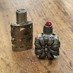 tiny antique sterling silver-encased glass perfume bottles (2)