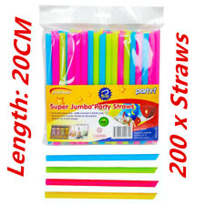 300x Large Wide Plastic Colourful Drinking Straws 20 Cm Length - Party Wedding F