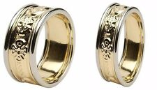 Pair Irish Handcrafted Celtic Cross Ring Wedding Set 14k Yellow gold white bands