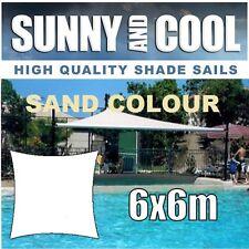 HEAVY DUTY SHADE SAIL-6x6M SQUARE IN SAND,6Mx6Mx6Mx6M.6x6m, BEIGE