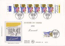 Enveloppe grand format 1er jour 1992 Journée du timbre L'accueil