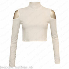 Ladies Womens Long Sleeve Shoulder Cut out Ribbed Polo Turtle Neck Crop Top 8-14 White Ml 12-14