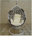 NEW HANGING SWING EGG CHAIR Rattan OUTDOOR BLACK & white BASKET & creamy CUSHION