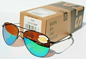 COSTA DEL MAR Cook POLARIZED Sunglasses Satin Black/Green Mirror 580P Aviator