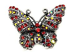 BUTTERFLY BROOCH Red rhinestones fashion jewelry silver tone gift  christmas #4