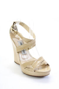 Jimmy Choo Womens Patent Leather Ankle Strap Wedges Sandals Beige Size 37
