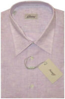 $575 NEW BRIONI LAVENDER SHORT SLEEVE SUMMER LINEN DRESS CAMP SHIRT III M 16