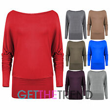 Womens Off Shoulder Top Ladies Long Sleeve Baggy Loose Basic Casual Batwing Top