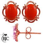 BJC 9 ct Oro Rosa Natural Melocotón Coral Individual Pendientes De Presión