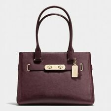 Coach Swagger Pebbled Leather Oxblood Tote Carryall Burgundy Bag $395