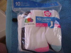 10 PR CREWS - SZS S 6-10 1/2, M 10 1/2 -4, L 4-10 - NEW
