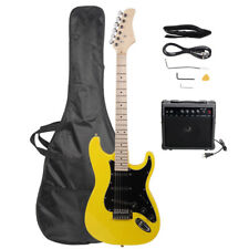 St Electric Guitar with Black Pickguard Yellow
