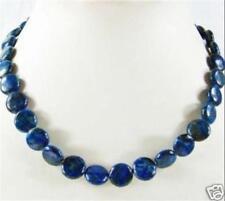 "Dark Blue 12mm Natural Lapis Lazuli Coin Gemstone Beads necklaces 18""AA"