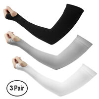 3Pairs Cooling Warm Arm Stretch Sleeves Sun Block UV Protection Cover Sports