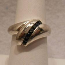 Vintage Antique Estate~Genuine Sapphire 925 Sterling Silver Ring Size 8.25