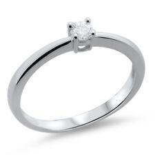 Solid 18k oro bianco F / VS 0,14 carati rotondo brillante taglio diamante anello di fidanzamento