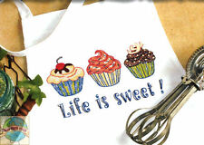Cross Stitch Kit ~ Dimensions APRON Life is Sweet Yummy Cupcakes #73516