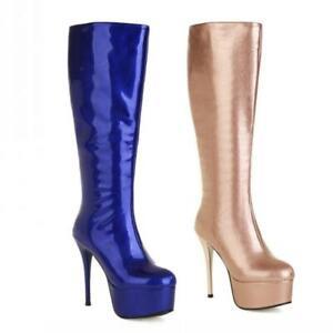 Women's High Heel Round Toe Platform Zip Mid Calf Knee High Boots Gothic 34-43 L