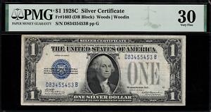 1928C $1 Silver Certificate FR-1603 DB Block - Graded PMG 30 Very Fine - RARE!