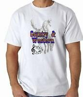COUNTRY AND WESTERN T-Shirt 100% Cotton FREE UK POST Cowboy Line Dancing