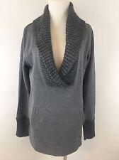 Ann Taylor LOFT Gray V Neck Knit Sweatshirt Cable Knit Sweater Medium