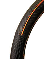 NEW Sumex Branded Soft Leather Car Steering Wheel Cover - Black with Orange Line