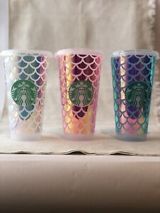 Venti Starbucks Holographic Pink Mermaid Print refillable cold cup Custom 24 oz.