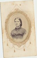 Antique Civil War Era CDV Tax Stamp Photo of a Nice Looking Lady Memorial Mount