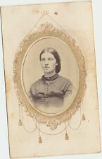 ANTIQUE CIVIL WAR ERA CDV PHOTO OF A NICE LOOKING LADY MEMORIAL MOUNT TAX STAMP