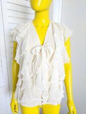 ROBBI & NIKKI Silk Cream Cascade Ruffle Blouse Size S NWT Retail $165!!