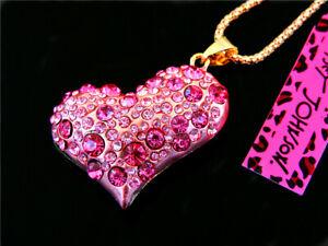 Betsey Johnson Beautiful fashion Pink Rhinestone Heart Pendant Necklace