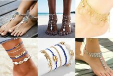 ankle coins silver foot chain Anklet Boho Festival foot chains beach