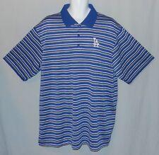 Mens Polo Shirt LA Dodgers Size XXL Los Angeles MLB Blue Majestic Striped 2XL